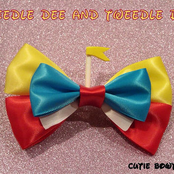 Tweedle Dee and Tweedle Dum hair bow Alice in Wonderland Disney Inspired