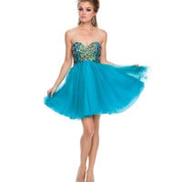 Turquoise Chiffon Short Corset Dress 2015 Prom Dresses