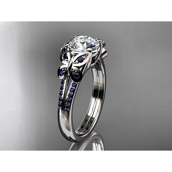 14k white gold Blue Sapphire engagement ring, butterfly ring,  One Moissanite ADLR514