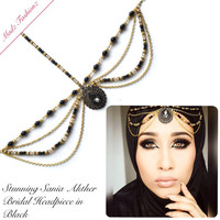 Black Bridal Gold Headpiece hair jewelry modest hijab jewels big stylish headwear wedding mang tikka hand chain @sania.xo | Madz Fashionz