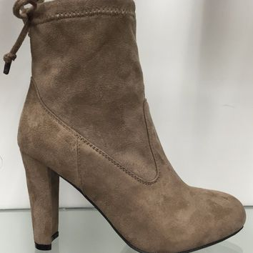 Amaya-8 Ankle High Tie Lace Up Pull On Block Chunky Heel Bootie Boot Shoe Taupe