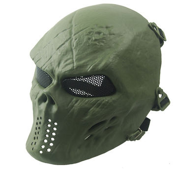 New Green Full Face Protective Skull Mask CS Military Motorcycle Wargame Paintball Airsoft Anonymous Masks Halloween Face Mask