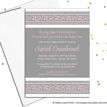 girl baby shower invitations - pink gray baby shower girls - fancy baby shower invitation unique - digital printable or printed - WLP00761