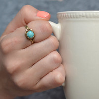 Turquoise Ring, Boho Ring, Gypsy Jewelry, Dainty Ring, Bronze Turquoise Ring