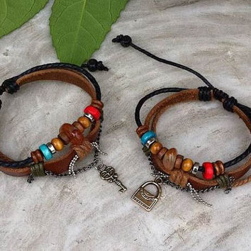 Couples Bracelets Set, His and Hers Bracelets, Leather Bracelets, Key Lock, Anniversary Gift, Personalized Bridesmaid Jewelry, Friendship