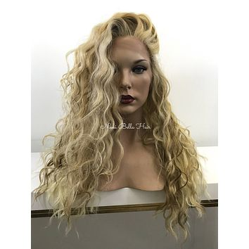 Natural Blond Waves Balayage Ombre' Human Hair Blend Deep Parting Lace Front Wig - Mina