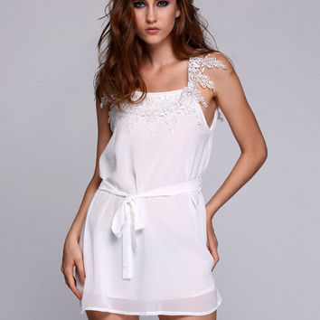 White Sleeveless Lace Chiffon A-Line Mini Dress