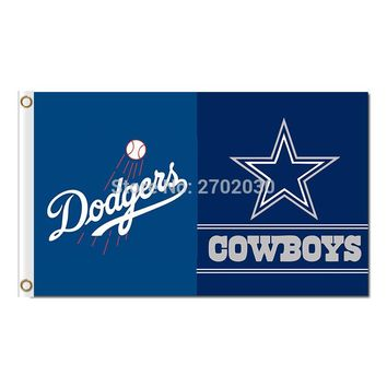 Los Angeles Dodgers Flag Dallas Cowboys World Series Champions Baseball Fans Team Banners Flags 90x150cm Blue Banner