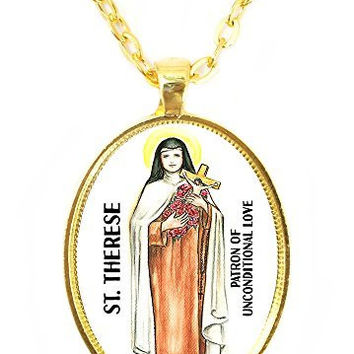 St Therese Patron Saint of Unconditional Love Huge 30x40mm Bright Gold Pendant with Chain Necklace