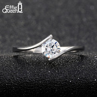 Effie Queen New Simple Design AAA Grade Austrian Zircon Ring Single Zircon Women Wedding Engagement Ring DR06