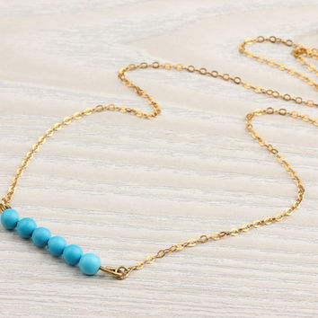 "Turquoise gold necklace, vermeil necklace, gemstone necklace, beaded necklace, delicate necklace, howlite stone, ""Galene"" Necklace"