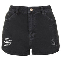 MOTO Black Denim Ripped Hotpants - Black
