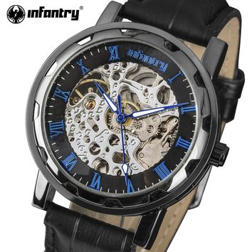 INFANTRY Mens Watches Luxury Brand Relojes Hombre Semi-automatic Skeleton Hollow Mechanical Watches Artificial Leather Strap