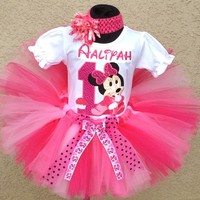 Baby Minnie Mouse Hot Pink Berry Cupcake -Birthday Tutu Outfit