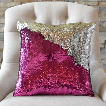 Fuchsia Pink & Silver Sequin Mermaid Pillow *Limited Edition* - COVER ONLY (Inserts Sold Separately)