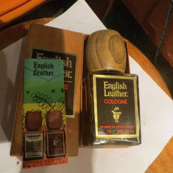 Vintage NEW 4oz English Leather men cologne full bottle in original Decorative bottle with wooden lid in   gift box. Made in USA   by Mem