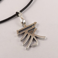 Silver Family Chinese Symbol Leather Necklace, gift for men, gift for women, gift for family