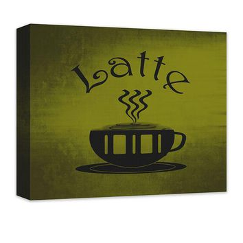 Latte Cup Word Art Canvas Wall Art