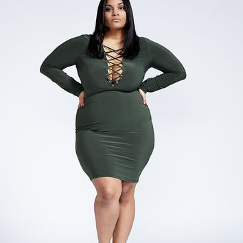 Come Together Olive Lace Up Bodycon Dress from Poshtiqe | Party