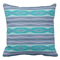Decorative Lavender and Aqua Stitch Striped Pillow