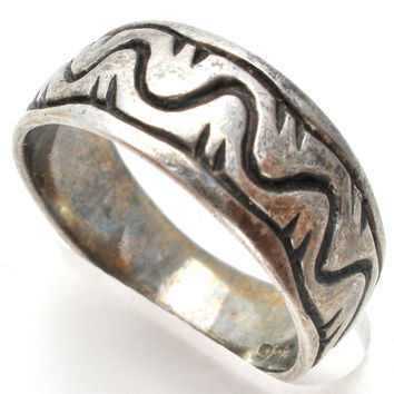 Sterling Silver Band Overlay Technique Ring Size 7