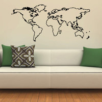 Wall Decals Vinyl Decal Sticker Wall Murals Wall Decor World Map (OS152)