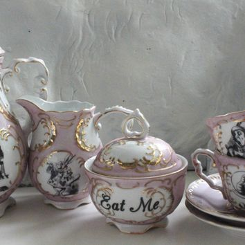 7-Piece Alice in Wonderland Green and Gold Tea Set, Available in Pink or Green, Lewis Caroll Coffee Set, Alice Tea Party, Payment Plans