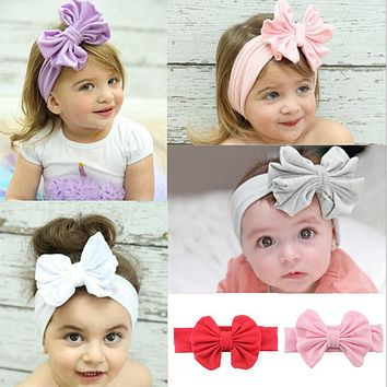 Hot Sale Infant Girls Headband Head Wraps Elastic Bands Ribbon Bows Tiara Baby Headbands Hair Accessories Free Shipping