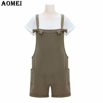Women Summer Khaki Rompers Junior Girls Preppy Style Causal Clothing Rompers Bodysuits