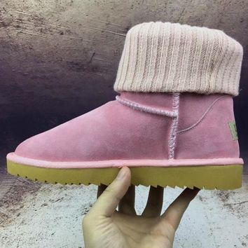 UGG Threaded curl Fashion Plush leather boots boots in tube Boots Pink