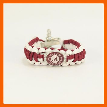 2017 NEW ALABAMA CRIMSON TIDE CHAMPIONSHIP SPORTS BRACELET ADJUSTABLE SURVIVAL BRACELET