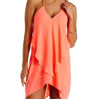 Neon Coral Draped & Caped Ruffle Trapeze Dress by Charlotte Russe