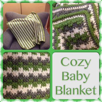 Handmade Crocheted Warm & Cozy Beautiful Baby Blanket - Any Color - Various Sizes