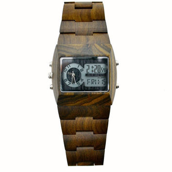 Wood Wristwatch | Eco-Friendly Brown Sandalwood Digital & Analog Wooden Watch - All Wood, custom made for our store