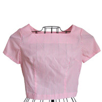 Vintage Crop Top Short Sleeve Pink and White Vertical Stripes - Square High Neck