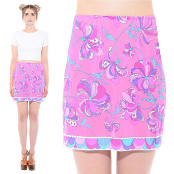 Vintage 60s EMILIO PUCCI Psychedelic Trippy Pink Floral Op-Art Mod Abstract Print Mini Slip Dress Skirt *Free Shipping U.S.* vtg