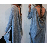 STRAPLESS LOOSE LONG-SLEEVED DRESS