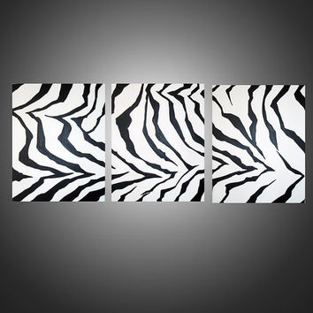 "zebra Modern Animal Art Original canvas Painting - zebrafied- 54 x 24""  wall hanging painting gallery wall art abstract expressionism"