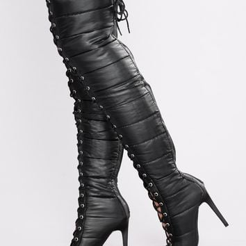 Puff Puff Lace Up Boot - Black