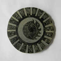 Vintage Maya Calendar Paper Weight Coaster Hand Carved Black Stone Sun Moon