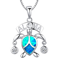 Sterling Silver Hawaiian Aloha Turtle W. Blue Green Fire Opal Pendant Necklace