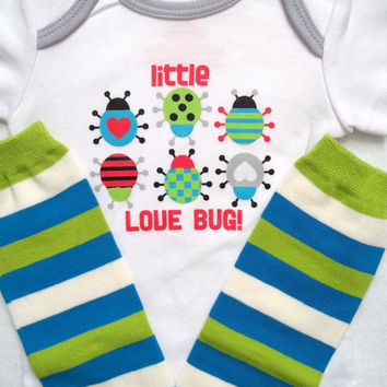 first Valentines Day baby boy Onesuit outfit llove bug lady bug ittle man blue green leg warmer 3 6 9 12 18 24 m toddler