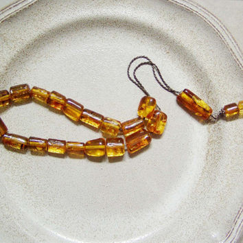 Baltic amber set of worry beads on an oxidised, sterling silver chain, traditional worry beads, prayer beads, mala, Greek komboloi