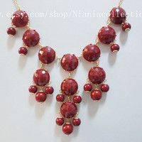 wine color Bubble Statement  Hollywood elegant Necklace
