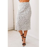 Everyday Girl Spotted Midi Skirt (Off White)