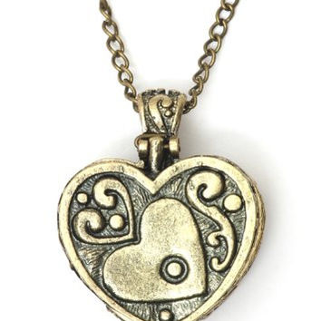 Heart Shaped Box Locket Necklace Steampunk NH50 Gold Tone Vintage Pendant Fashion Jewelry