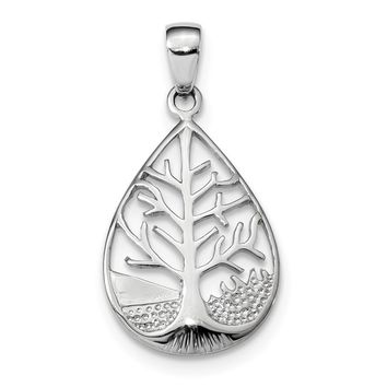 925 Sterling Silver Rhodium Plated Polished Tree Teardrop Shaped Pendant