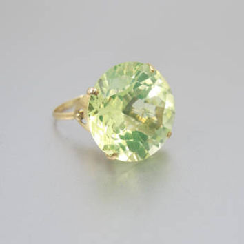 Gold Citrine Ring. 14K Yellow Gold Lemon Citrine Statement Ring. November Birthstone. 10 Carat Solitaire. Size 6.50