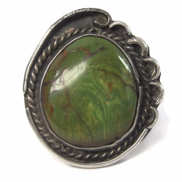 Large Vintage Green Turquoise Ring Sterling Size 7 Native American Jewelry