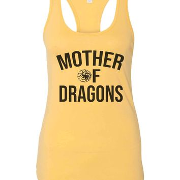 Womens Mother Of Dragons Grapahic Design Fitted Tank Top